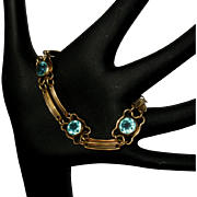 Art Deco Gold Filled Bracelet, Blue Crystal Stones