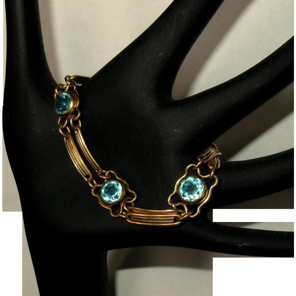 Art Deco Gold Filled Bracelet, Blue Crystal Stones