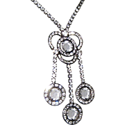 Crystal Festoon Rhinestone Necklace, Victorian Revival, 40's