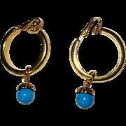 Crown Trifari Hoop Earrings, Vintage 60's Clip Ons