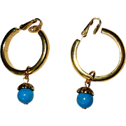 Crown Trifari Hoop Earrings, Vintage 60's Clip Ons