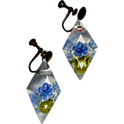 Vintage Lucite Earrings, Reverse Carved Roses, 1950's Drops