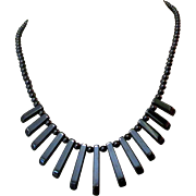 Vintage Hematite Necklace, 1980's Deco Revival