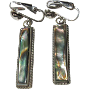 Vintage Abalone Earrings, Drop / Dangling Mexican