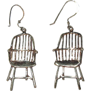 Vintage Chair Earrings, 1980's Sterling Wires