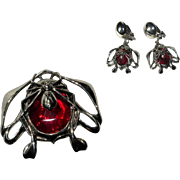 Spider Ring & Earrings, Vintage Halloween Jewelry Set