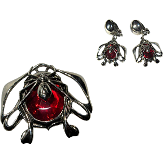 Spider Ring & Earrings, Vintage Halloween Jewelry Set