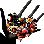 Halloween Bracelet, Beads, Jack O'Lantern, Vintage Cha Cha