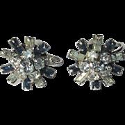 50's Rhinestone Earrings, Atomic  Snowflakes