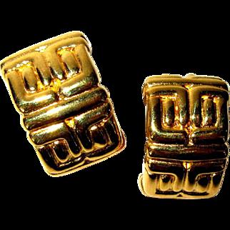 Half Hoop Earrings, Vintage Gold Toned Greek Design, Clips