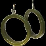 Vintage Bakelite Earrings, Large Green Hoops, Art Deco