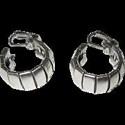 Silver Hoop Earrings, Vintage Clips
