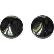 Glass Button Earrings, Vintage Hematite Color Clips