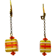 Lucite Cube Earrings, Vintage 60's Layers, Orange & Yellow