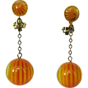 60's Ball Earrings, Drops, Chains, Orange & Yellow