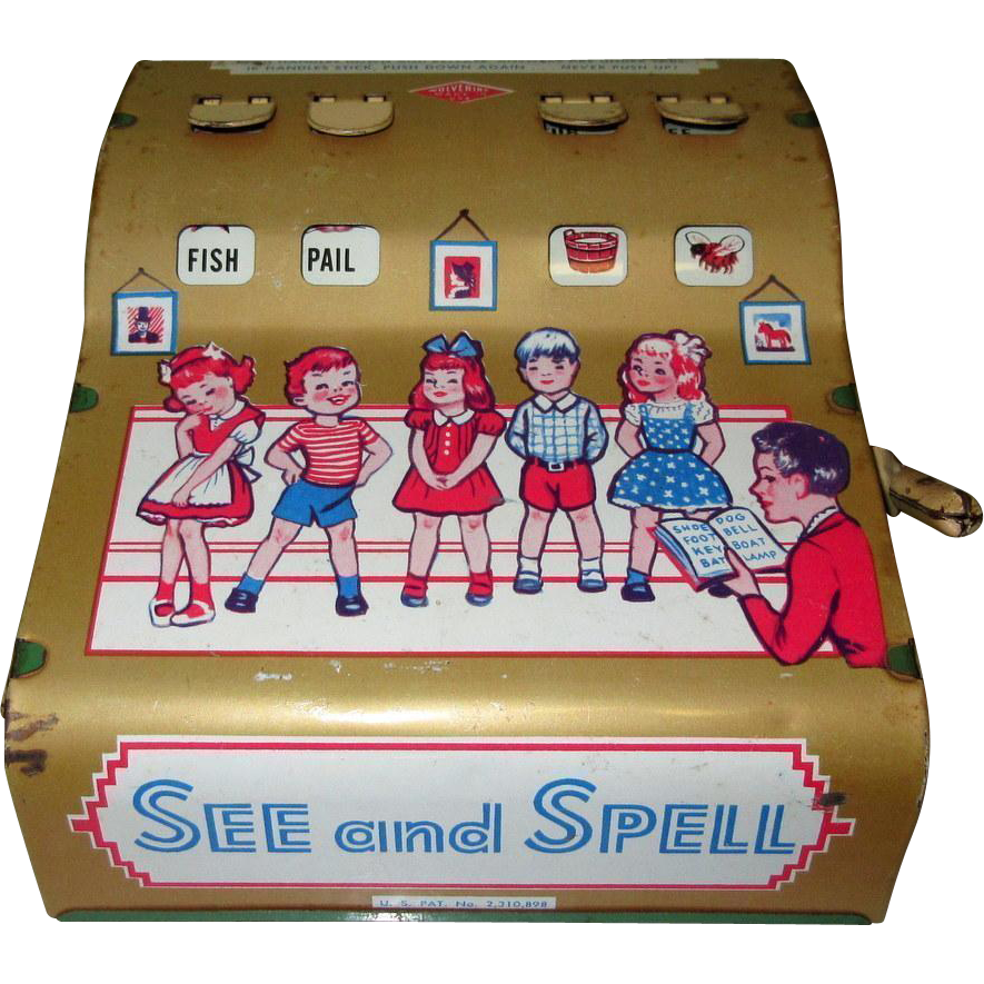 Classic Educational Toys : Wolverine see spell vintage educational toy tin litho