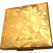 Elgin American Compact, Vintage Floral Engraved