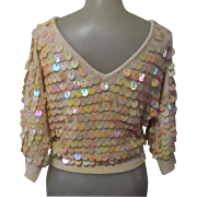 Vintage Beaded Sweater, 1960's Paillettes, Silk, Angora