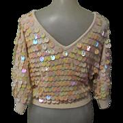 Vintage Beaded Sweater, 1960's Paillettes, Silk, Angora