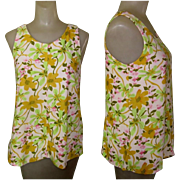 Vintage Tropical Tank Top,Fforal Knit.