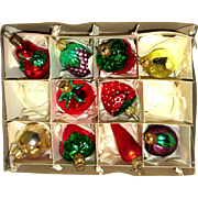 Mercury Glass Vegetable Christmas Tree Ornaments West Germany