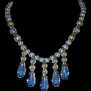Czech Glass Necklace, Sapphire Blue & Glass Pearls, Vintage Bib