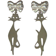 Sterling Cat Earrings, 1960's Silhouettes, Vintage Posts