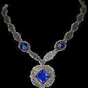Czech Glass Necklace, Filigree Links, Cobalt Deco Blue, 1920's