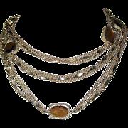 Crystal Necklace, Golden Embers, Bezel Set Sautoir, Sarah Coventry