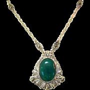 Art Nouveau Necklace, Marcasite, Czech Glass, Filigree