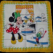 1940's Disney Handkerchief, Minnie Mouse, Vintage Child's