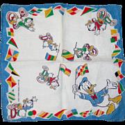 Vintage Donald Duck Handkerchief, 1940's Disney