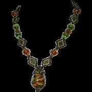 Art Glass & Beaded Necklace, Cane Signature, Vintage Artist