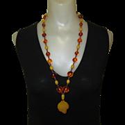 Bakelite Necklace, Vintage Beads, Butterscotch & Tortoise