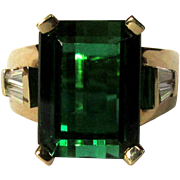 Tourmaline & Diamond Ring, 14K, 1940's Vintage 9ct Solitaire