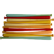 Baseball Bat Swizzle Sticks, 50's Plastic Cocktail