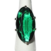 Antique Sterling Ring, Emerald Green Stone, 1910