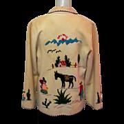 Vintage Mexican Jacket, Wool Felt, Embroidery, Donkey
