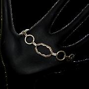 Sterling Link Bracelet, Vintage Floral Repousse
