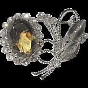 Vintage Rhinestone Brooch, 1960's Floral Crystal