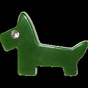 Bakelite Scottie Pin, Vintage Dog Art Deco, Rhinestone Eye