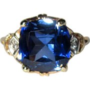 Diamond & 10K Ring, Vintage 30's, Synthetic Sapphire