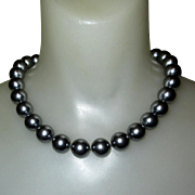 Majorica Faux Tahitian Pearls Collar Necklace 14mm Beads
