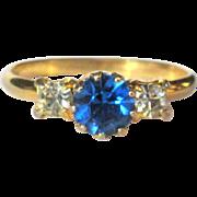 Vintage Rhinestone Ring,  Sapphire Blue, 3 Stone