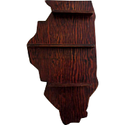 Vintage Curio Shelf, Illinois Shaped, Wood