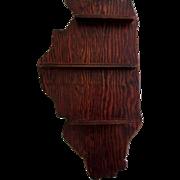 Vintage Curio Shelf, Illinois Shaped, Wood