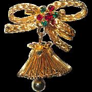 Christmas Bell Pin, Vintage Rhinestone, 1960's