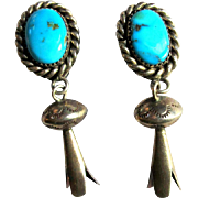 Vintage Turquoise Squash Blossom Earrings, Sterling Clip On
