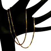 Vintage 14K Box Chain Necklace, Italy