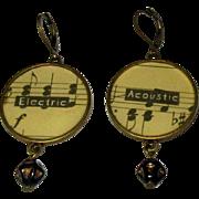 Music Staff Earrings, Vintage Guitar, Acoustic / Electric